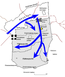 """""""Siege of JerusalemfiMap"""" by User:Barosaurus Lentus - self-made based on[1]. Licensed under CC BY-SA 3.0 via Wikimedia Commons - http://commons.wikimedia.org/wiki/File:Siege_of_JerusalemfiMap.PNG#mediaviewer/File:Siege_of_JerusalemfiMap.PNG"""