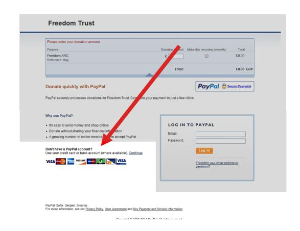 PayPal payment page - credit debit cards